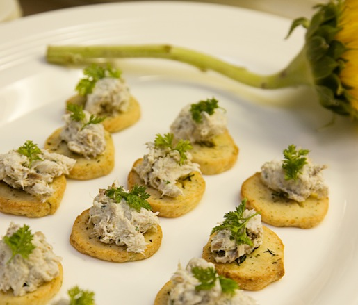Smoked Bluefish with Gruyère on Thyme Crackers
