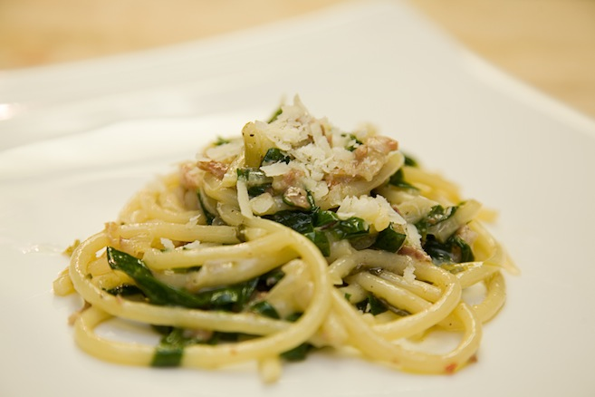 Bucatini with Ramps and Pancetta Ragù