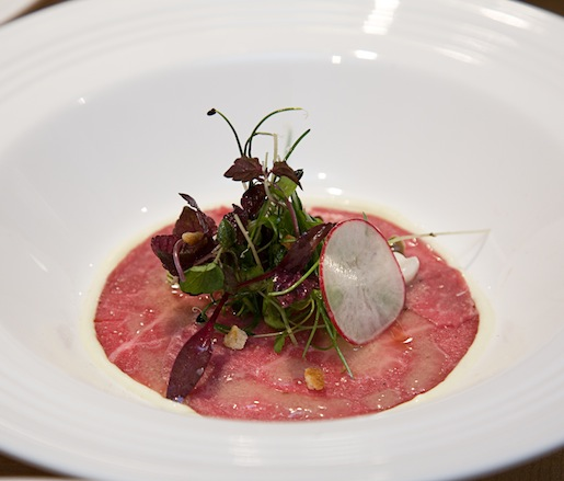 Wagyu Beef Carpaccio with Yuzu, Soy Pearls, Jalapeño Aïoli, and Radishes
