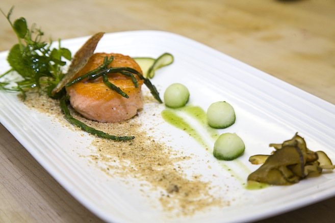 Lake-Steamed Steelhead Trout with Wild Watercress, Cucumber, and Fennel Pollen