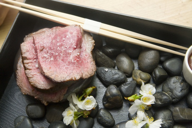 Yakiniku > Grilled Wagyu Beef with Toasted Cherry Leaves, Rice, and Grilled Mushrooms