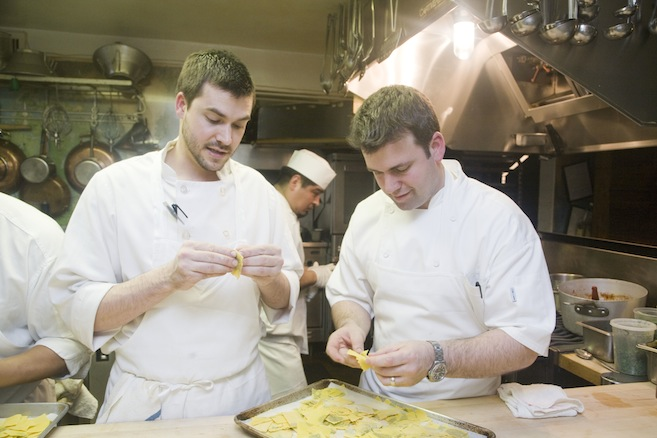 Chef Albert Di Meglio and team in the Beard House kitchen