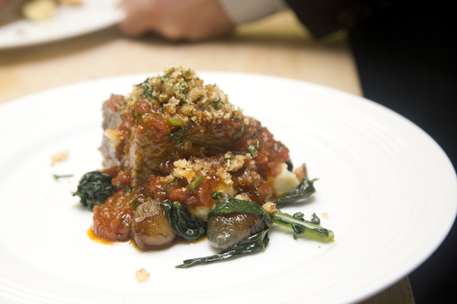 Braised Short Rib Braciole with Caramelized Onions, Gnocchi, and Braised Black Kale