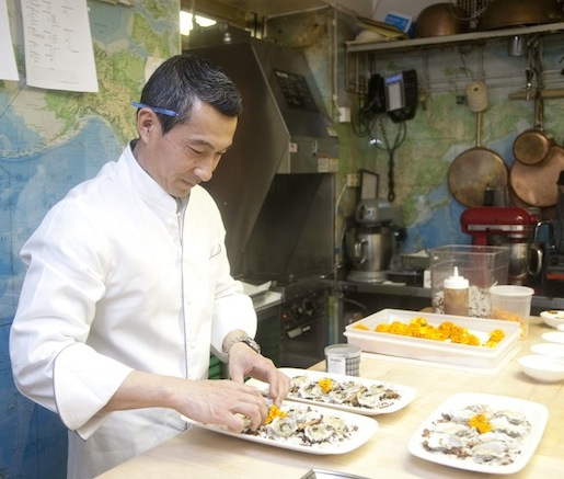 Chef Shuji Hiyakawa in the Beard House kitchen