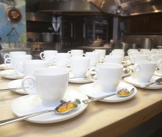 Cauliflower Cappuccino with Smoked Steelhead Caviar and Uni