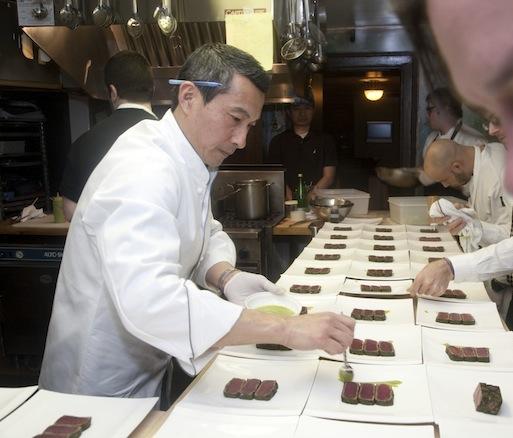 Chef Shuji Hiyakawa in the Beard House kitchen