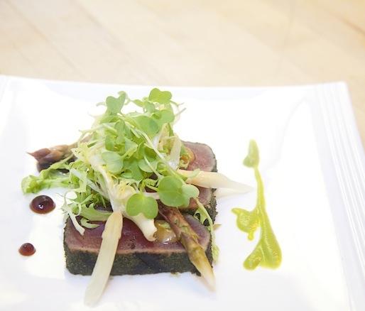 Wasabi-Crusted Bluefin Tuna with Shaved Asparagus–Frisée Salad, Pickled Asparagus Caviar, Mustard Miso, and Soy Gelée
