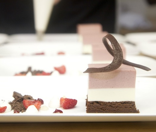 White Chocolate–Raspberry Mousse Terrine with Chocolate Crumble, Green Tea Dust, and Raspberry Gel