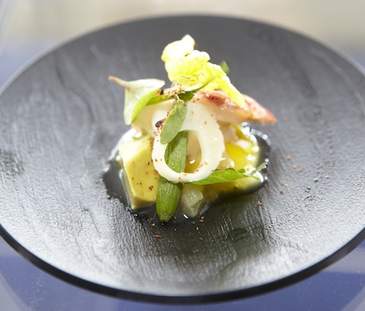 Chilled Maine Lobster Salad with Avocado, Hearts of Palm, Compressed Pineapple, and  Lemongrass–Vanilla Vinaigrette by John Suley (Presented By Event Sponsor Celebrity Cruises)