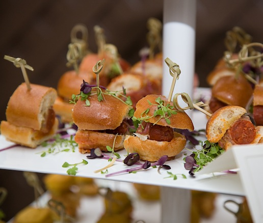 Wine-Soaked Chistorras with Honey Mustard and Herb Sala on Miniature Hot Dog Buns