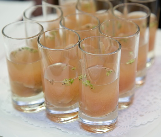 Clam Shooters with Horseradish–Tomato Water
