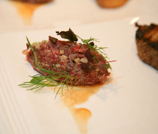 Venison Crudo with Walnuts, Anchovies, and Allium