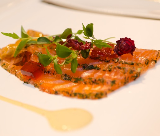 Citrus-Cured Skuna Bay Craft Raised Salmon with Sea Urchin, Meyer Lemon, Cucumbers, Ruby Beets, and Tahoon Cress
