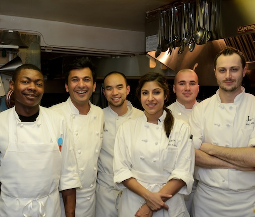 Chef Vikas Khanna and his team in the Beard House kitchen