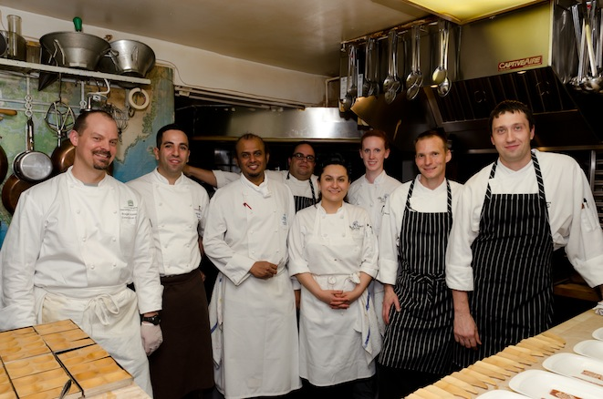 Chefs Charles Phillips, Hus Vedat, and team in the Beard House kitchen