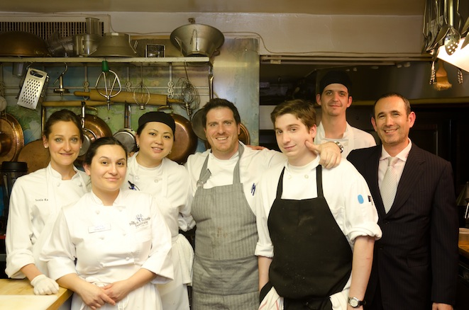 Chef Seamus Mullen and team in the Beard House kitchen