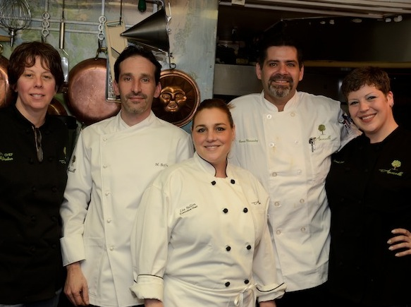 Chef Lia Fallon and her team in the Beard House kitchen
