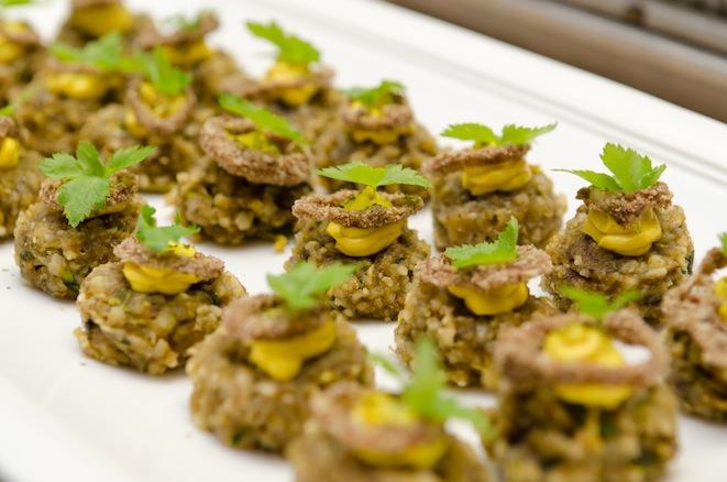 Vegetable Rösti Cakes with Saffron Aïoli, Kelp, and Spring Onion Rings
