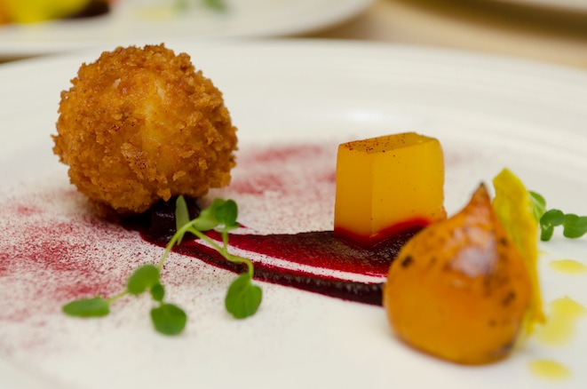 Beet Textures > Powder, Jelly, and Crisps with Fried Goat Cheese