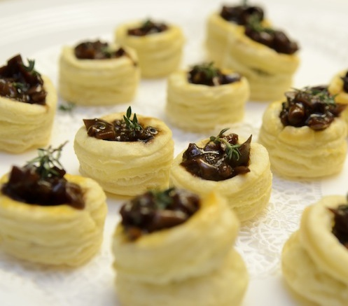 Mushroom Bourguignonne > Seasonal Wild Mushrooms with Truffle Essence in Pastry Boats