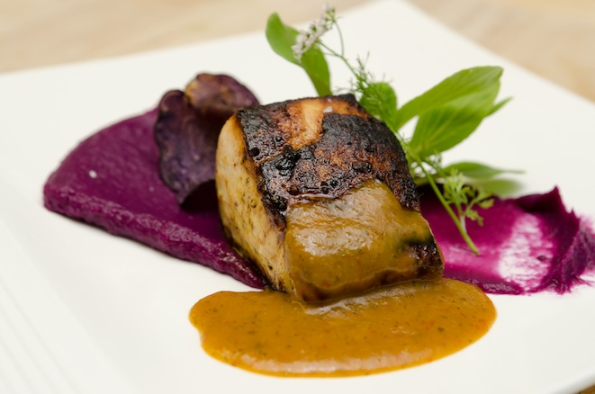 Nuoc Cham Escolar with Purple Sweet Potato Velvet, Micro–Bok Choy, and Coriander Blossoms