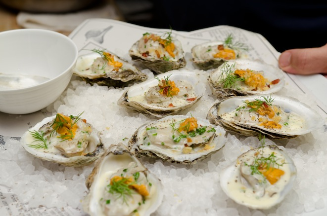 Copps Island Oysters with Caviar and Vegetable Juices