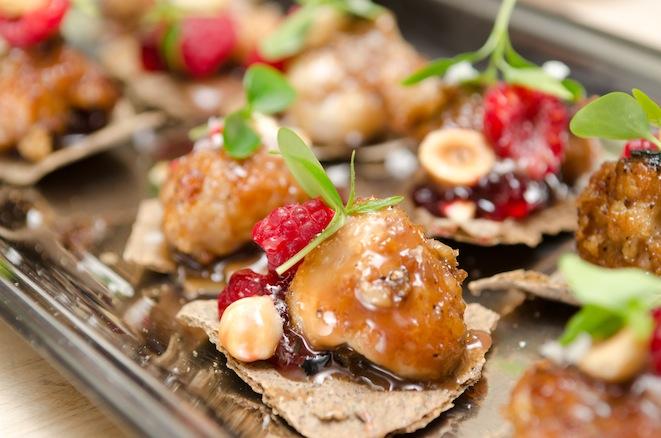 Crispy Sweetbreads with Milk Chocolate–Hazelnut Crunch and Pâtés de Fruits