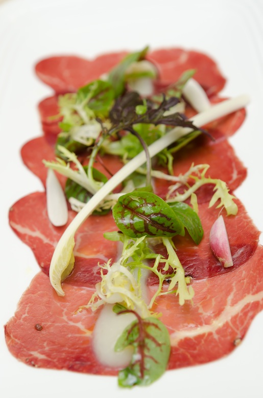 Bresaola with Radishes, White Asparagus, and Baby Lettuce