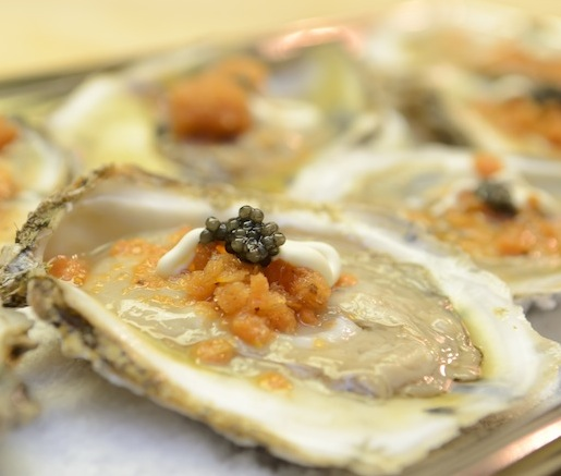 Long Island Oysters with Spicy Tomato Granité, Crème Fraîche, and Sturgeon Caviar