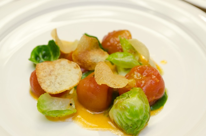 Tomato Confit, Brussels Sprout, and Potato Crisp