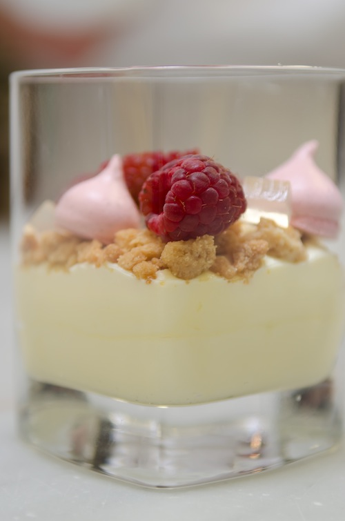 Sexy Raspberry > Mascarpone Bavarian with Fresh Raspberries, Salty Hazelnut Crunch, and Berry Meringues