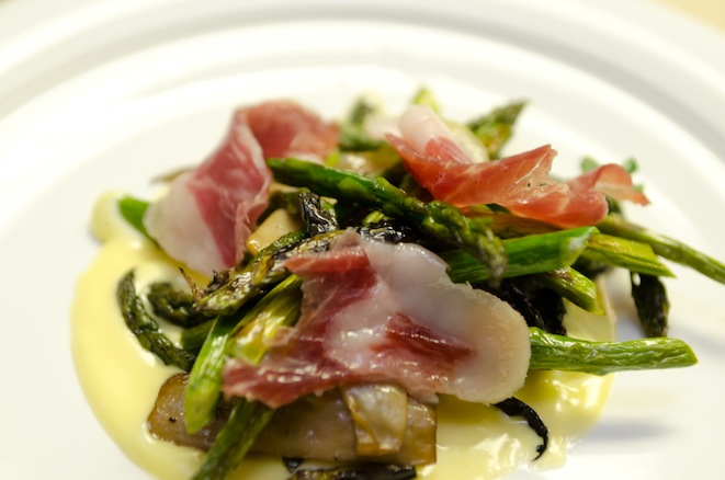 Spring Asparagus Salad with Wild Mushrooms and Ibérico Ham