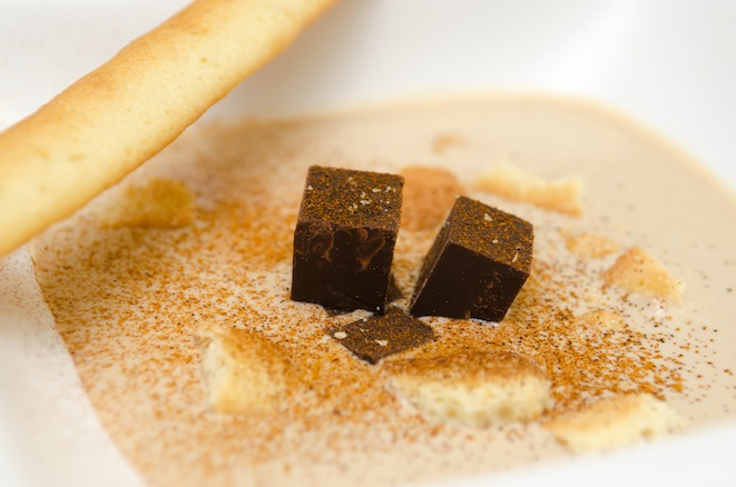 Peanut Butter Soup with Ancho-Spiced Chocolate Croutons and Shortbread Grissini