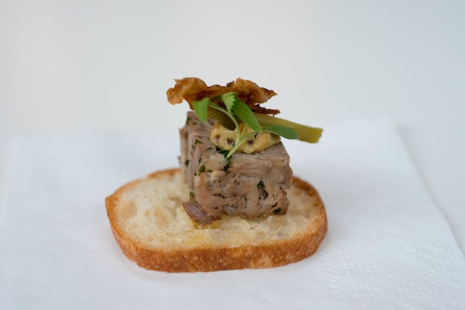 Pressed Duck Terrine with Cracklings and Housemade Mustard