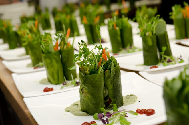 Spring Rolls with Shaved Spring Vegetables, Coconut Wrapper, Chipotle, and Microgreens