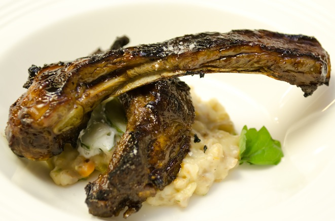Glazed Ibérico Ribs with Creamy Farro and Cucumbers