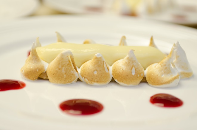 Florida Lemon Tart with Almond Meringue and Raspberry Coulis