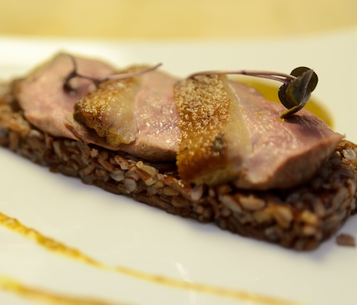 Crispy, Farm-Raised Duck Breast with Tellicherry Peppercorns, Curry Leaves, Tamarind Pulp, Coconut Milk, and Bhutanese Red Rice