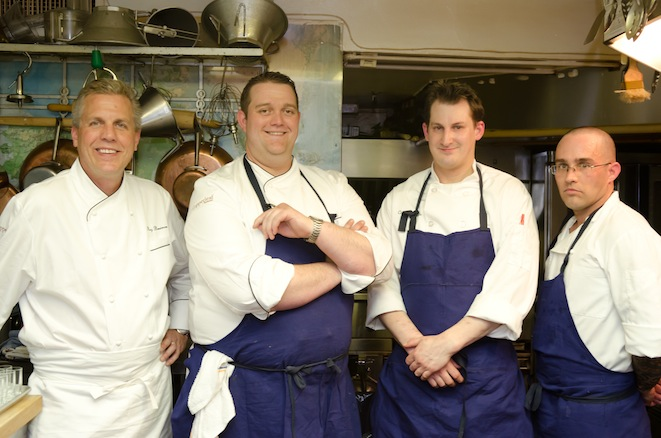 Chefs Roy Breiman, Mark Bodinet, and their team in the Beard House kitchen