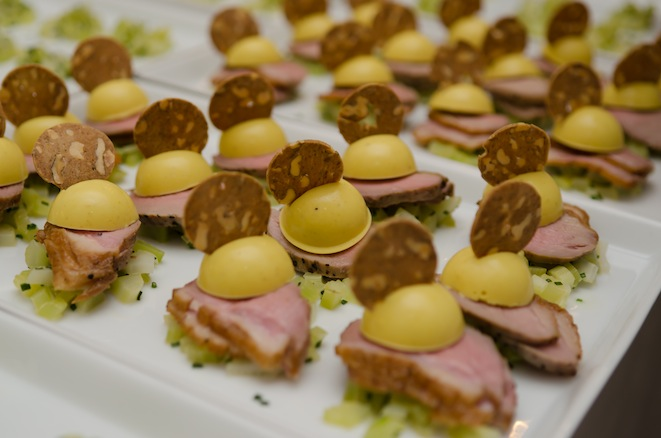 Short-Smoked Duck Breast with Rutabaga Panna Cotta, Lemon-Marinated Celery, and Walnut Cracker