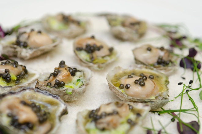 Olympia Oysters with Young Leeks and White Sturgeon Caviar