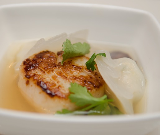 Seared Diver Scallops with Ginger–Shrimp Dumplings and Yuzu Kosho–Scented Katsuo Dashi Broth
