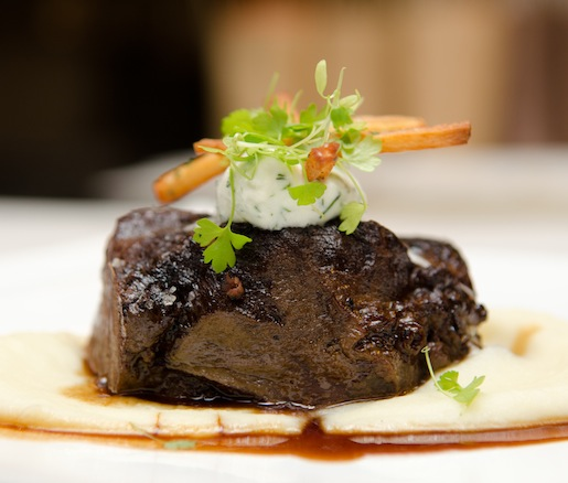 Red Wine–Braised Beef Cheeks with Potato–Celery Root Purée, Parsnips, and Horseradish Cream