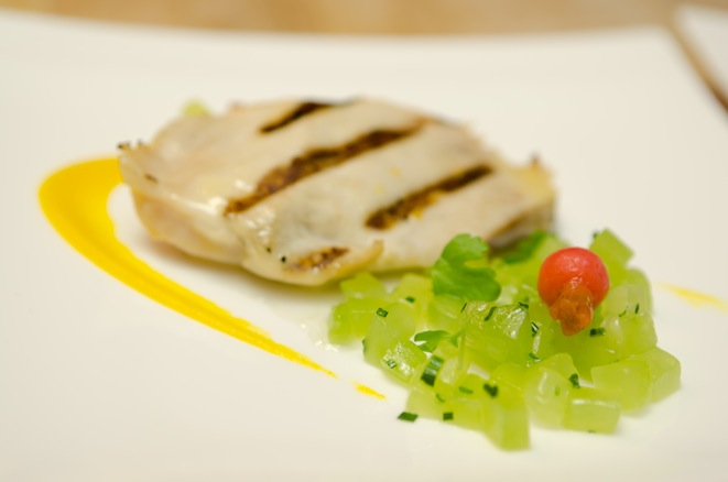 Fishing Vessel St. Jude Albacore Tuna with Garden Celery, Pickled Radishes, English Cucumber, and Lemon Verbena