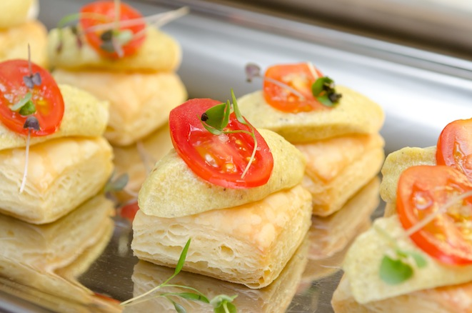 Sea Salt Puff Pastries with Heirloom Tomatoes and Lentil Mousse