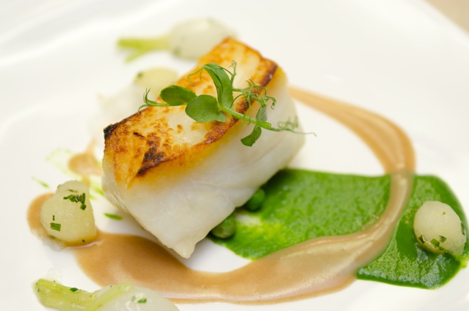 North Pacific Halibut with English Peas, Young Turnips, Pink Lady Apples, and Smoked Bacon Emulsion