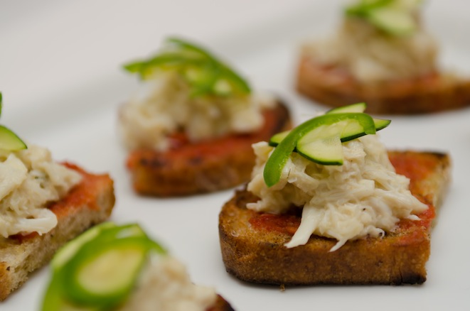 Blue Crab, Jalapeño, and Tomato Crostini