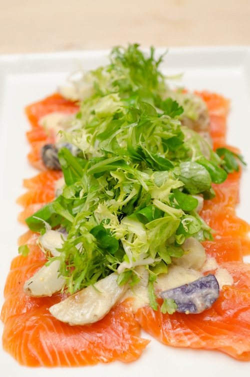 Cured Wild Salmon Salad with Paffenroth Gardens Heirloom Potatoes and Fresh Horseradish