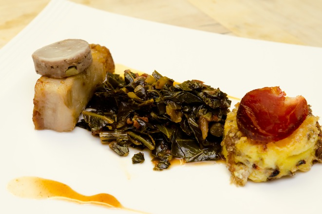 New Town Farms Tip-to-Tail Pork > Preserved Cheek Mousse with Appalachian Black Truffles, Crispy Cast-Iron Belly, Smoked Shoulder–Corn Pudding with Collards, Southern Lomo Tenderloin, South Carolina Mustard, and East Carolina Barbecue Sauce