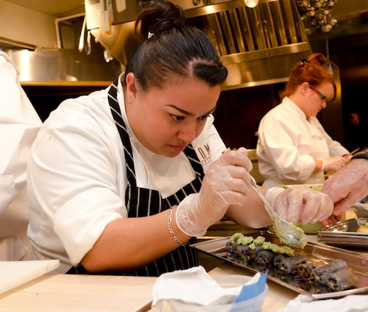 Anastacia Quiñones in the James Beard House kitchen
